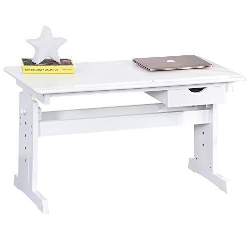 HOMCOM Studiertisch Schreibtisch Computer Stand Laptoptisch Höhenverstellbar 5-Stufig mit Schublade MDF Weiß 109 x 55 x 63,6-89,2 cm