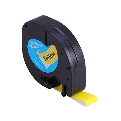 Matsuro Original 12 mm x 4 m | pl/ástico | Paquete de 5 Compatibles Cintas de Etiquetas Reemplazo para DYMO LetraTag 91202 S0721620 negro sobre amarillo