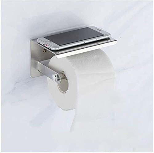 Soporte de rollo de inodoro Soporte de papel higiénico de acero inoxidable para baño y almacenamiento de tejidos de cocina con soporte del estante del soporte del teléfono Soporte de papel higiénico