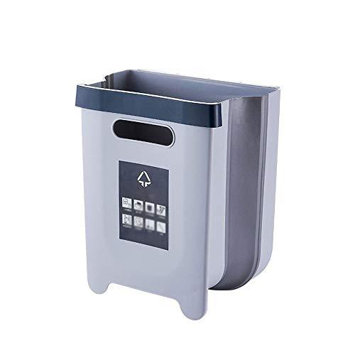 Yuxahiugljt Bote de Basura, Basura 9L Capacidad Plegable Cubo de plástico Plegable Coche Bote de Basura de la Cocina Uso montado en la Pared Papelera for Baño Dormitorio (Color : White)
