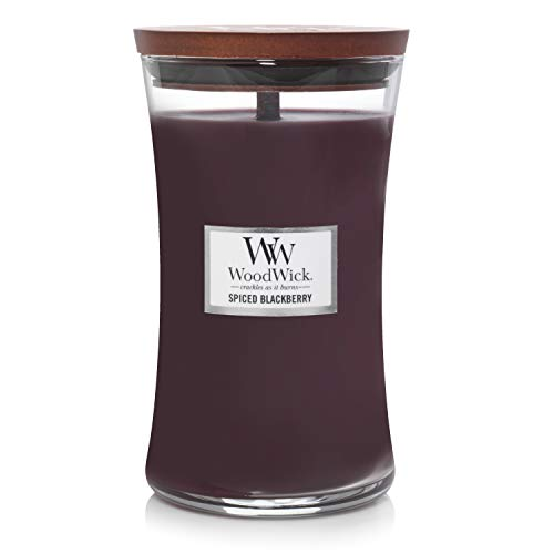 Große WoodWick Duftkerze im Sanduhrglas mit knisterndem Docht, Spiced Blackberry, bis zu 130 Stunden Brenndauer