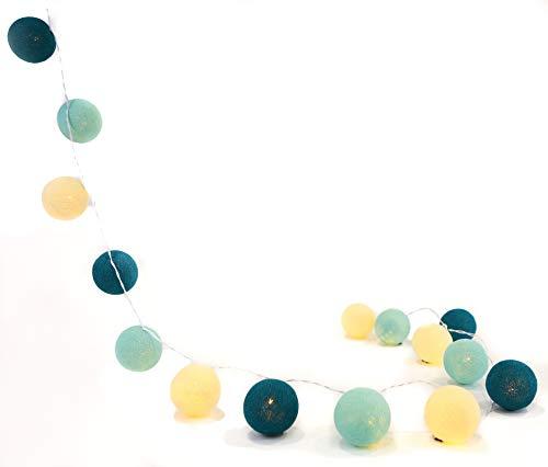 Illuminate Your Home Lichterkette 'Aqua' mit 50 Kugeln aus Baumwolle - Cotton Ball Lights, innen