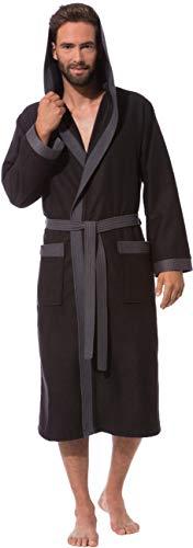 Morgenstern Bademantel Herren mit Kapuze schwarz dünn Saunabademantel Herrenbademantel Männer Bambus Baumwolle Mikrofaser wadenlang leicht Größe XL