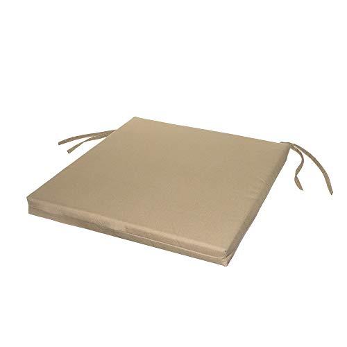 LOLAhome Cojín de Exterior para Silla Cartago Beige de poliéster de 45x45 cm