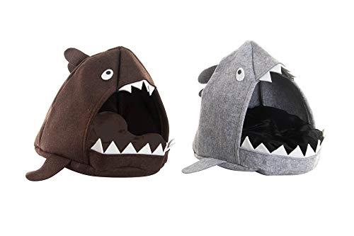 Tiburón Caseta Cama para Mascota de Fieltro y Madera 53X46X40 Colores aleatorios Productos para Mascotas