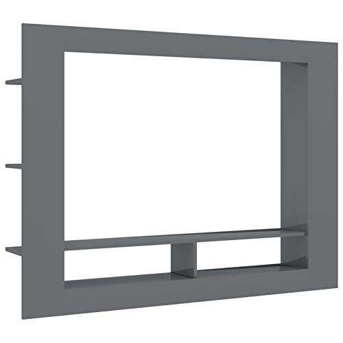 pedkit Mueble para la TV Mesa de Salón Moderno Soporte de Televisión con 2 Compartimentos Abiertos y 6 Estantes Laterales de Aglomerado Gris Brillante 152x22x113 cm