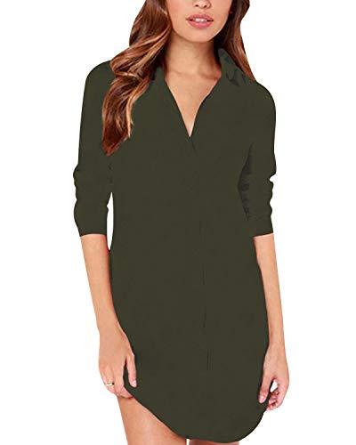 Zanzea Chemise Femme a Carreaux Robe Tunique Femme Longue Grande Taille Shirt Femme Chic Manche Longue col V,B16079*vert,EU 52/US 22W UK 24 (5XL)