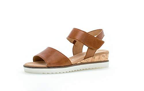 Gabor  Damen Sandalen, Frauen Keilsandalen,Comfort-Mehrweite, sommerschuh, 40 EU, Camel Kork Creme Braun