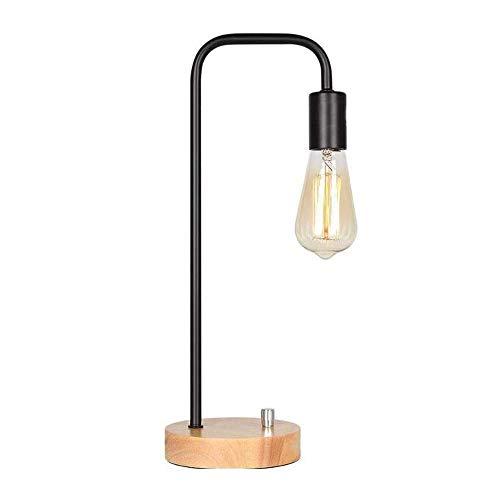 Lámpara Escritorio Lámpara de mesa industrial, lámpara de mesita de noche, lámpara de mesa con base de mármol, lámpara de noche minimalista para sala de estar, dormitorio, oficina de noche, negro (bom