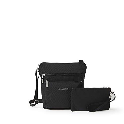 Baggallini Pocket Crossbody Bag With RFID-Protected Wristlet, Black/Sand