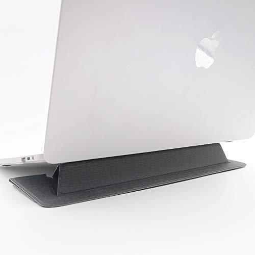 SenseAGE薄型 折り畳み可 ラップトップスタンド ノートパソコンスタンド タブレット用ホルダー 軽量 滑り止め 持ち運びに便利 MacBook/MacBook Air/MacBook Proなど15.4インチまでに対応 ダークグレー