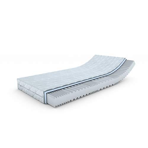 MSS® Aqua VitalFoam® 7 Zonen Matratze - H3-190x80 cm / 7 Zonen Wellen Kaltschaum mit versteppten Klimafaserbezug waschbar bis 60 Grad / H3