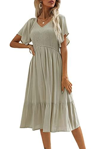 Zattcas Women V Neck Smocked Ruffle Short Flutter Sleeve Midi Tiered Dress Light Sage L