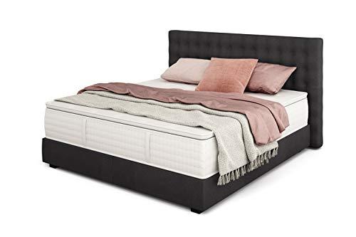 Betten Jumbo King Boxspringbett Deluxe 180x200 cm mit 33 cm hoher 7-Zonen TFK Härtegrad H3 | Farbe Anthrazit