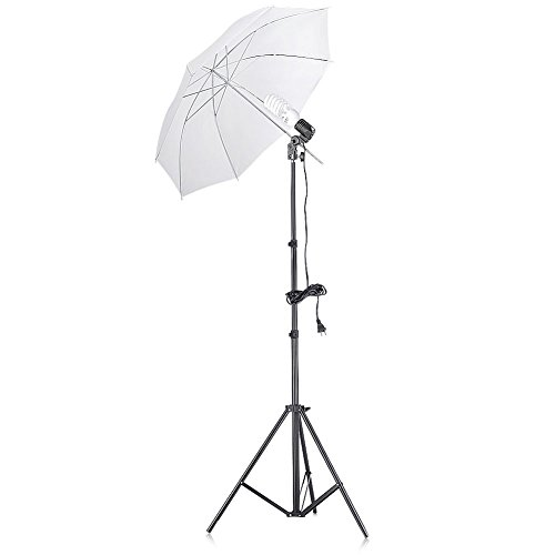 Neewer 200W 5500K Continuous Lighting Umbrella Kit for Photo Studio Video Shooting,includes 74.8 inches/190cm Light Stand, Single Head Light Holder, 45W Daylight Bulb and 33 inches/84cm White Umbrella