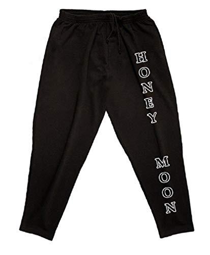 Honeymoon - Pantaloni da jogging da uomo, taglie forti con stampa Nero XXXL