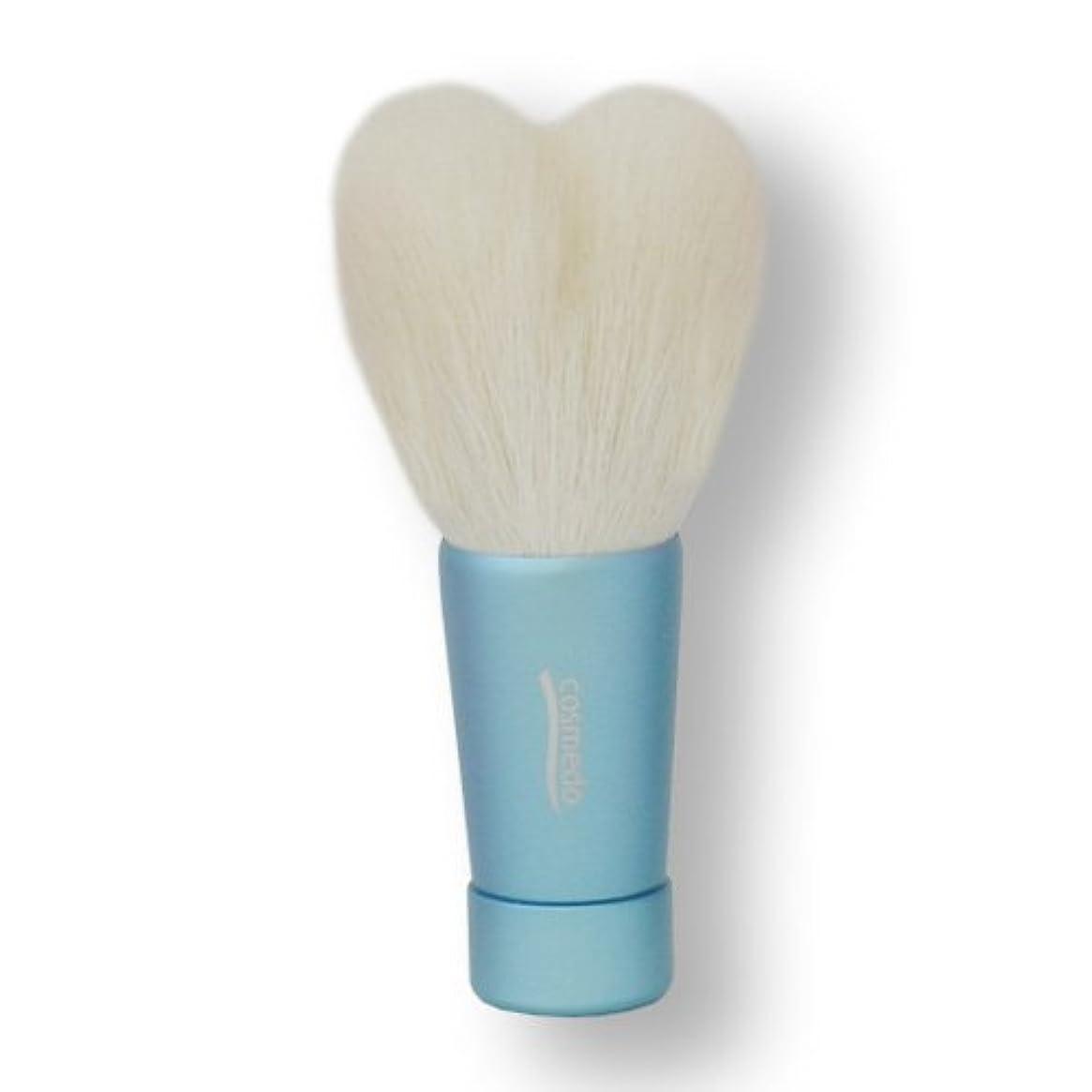 差別深遠熱匠の化粧筆コスメ堂 熊野筆 ハート型洗顔ブラシ Mサイズ ブルー (青) 全長80mm