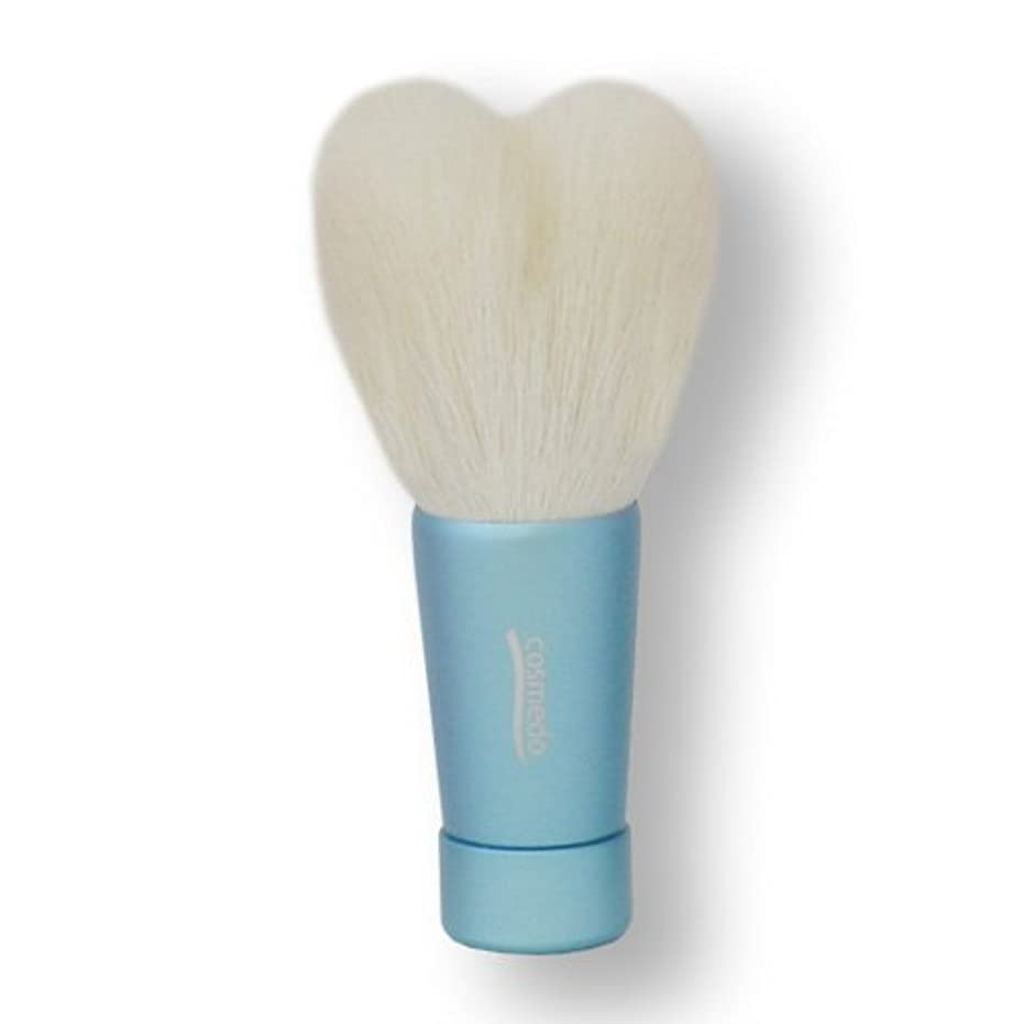 マイナー予測記念碑匠の化粧筆コスメ堂 熊野筆 ハート型洗顔ブラシ Mサイズ ブルー (青) 全長80mm