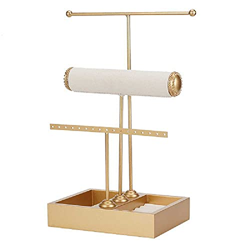 N\C Estante de joyería en forma de T, almacenamiento de anillos, mesa de almacenamiento y tocador, estante de exhibición de joyas