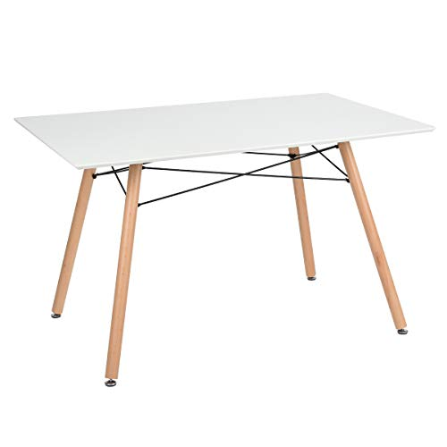 GreenForest Dining Table Rectangular Top Modern Leisure Coffee Table Home and Kitchen 44' x 30' White