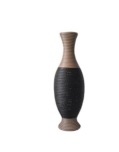 Exclusieve vaas van rotan, acryl, kleur zwart en wengé - origineel design - thuis en meer