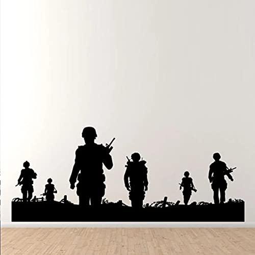 YGYT Pegatinas de Pared Negro 143X57cm Soldados Caminando en Patrulla Calcomanías de Pared Sala de Estar Niños Hobby Decoración de Vinilo Dormitorio Pegatinas de Pared Arte de Fondo Murales