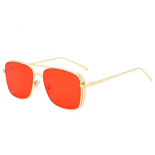 YOURSN Gafas De Sol con Montura Grande De Mar Marino De La Vendimia Gafas De Sol con Montura De Metal Gafas De Sol para Hombres Gafas De Sol Unisex Hipster