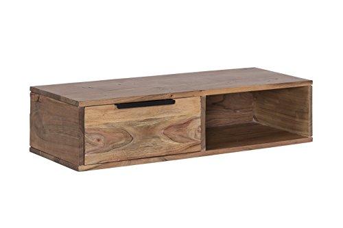 Woodkings® Wandregal Auckland massiv Holz 1Schub/1Fach, passend zum Lowboard Auckland, Wohnwand Modul, Holzmöbel, Regal, Holzregal, Regal mit Schubfach, Wandboard, Wandkonsole (Holz - Akazie)