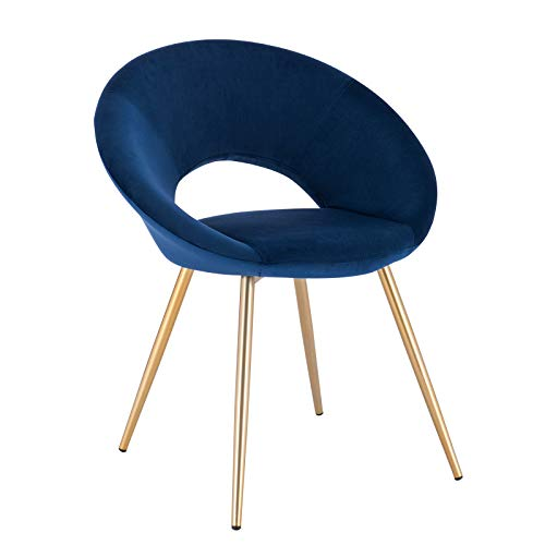 WOLTU® Esszimmerstuhl BH230bl-1 1 Stück Küchenstuhl Polsterstuhl Wohnzimmerstuhl Sessel, Sitzfläche aus Samt, Gold Metallbeine, Blau