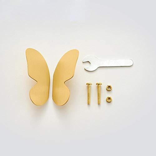 Messing Meubelhandvat Natuurlijke Luxe Goud Vlinder Trek Garderobe Dressoir Handvat Screw R Wing