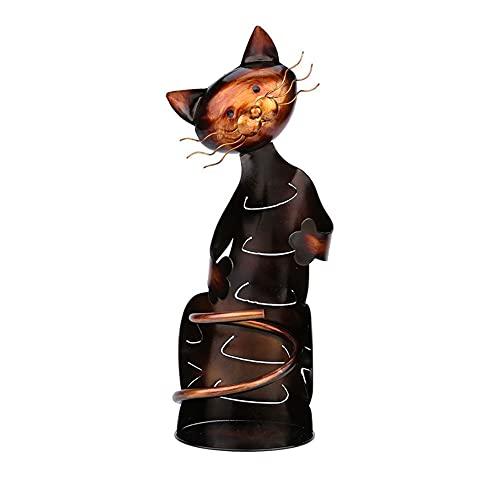 Soporte de vino, soporte de vino de gato, soporte de vino de arte de hierro, soporte de botella de vino de escultura en forma de animal de metal, decoración creativa para el hogar