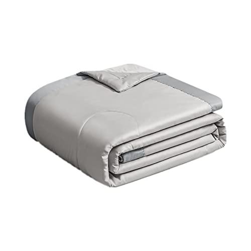 VBHT Edredón Fresco De Verano 100% Algodón Seda Lavada Antibacteriano Y Antiácaros Moda Respirable Cómodo Suave Ayuda A Dormir Gris 180x220CM