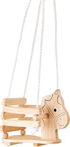 small foot wooden toys Children's Horse Swing Made of Wood, with Border & Handles for Independent Sitting Designed for Children 2+