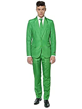 Suitmeister Solid Colored Suits in Green - Includes Jacket Pants & Tie - XL