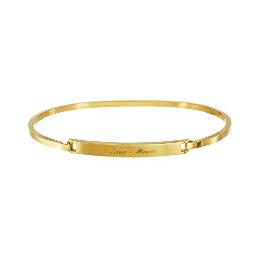 Gravado Armreif aus Gold-Edelstahl mit Gravur, Personalisiert mit Namen, Damen Schmuck, Mit Hakenverschluss, Inkl. Geschenkbox