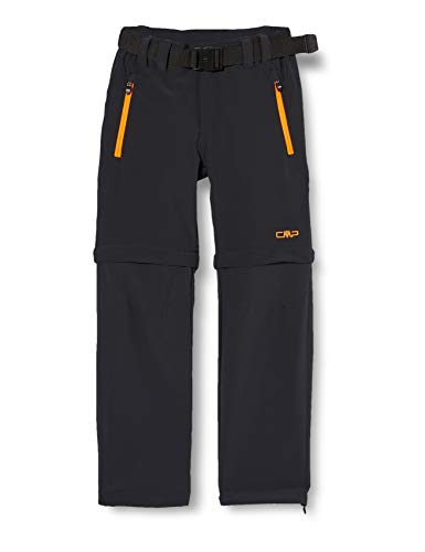 CMP Jungen Zip Off Wanderhose Hose, Antracite-Flash Orange, 152