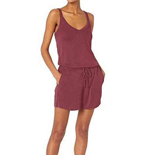 Fantastic Prices! Toimothcn Women Sleeveless Romper Tank Summer Solid V-Neck Daliy Pajama Set Lounge...