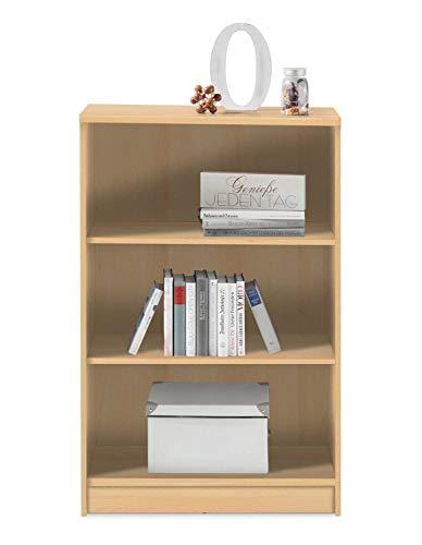 Wohnzimmerregal Standregal Bücherregal | 3 Fächer | Dekor | Buche | BxHxT: 72x111x34 cm