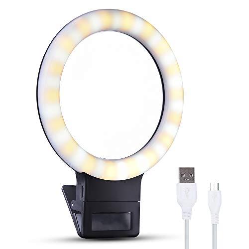 LONGKO Recargable Anillo de luz Selfie 36 LED Iluminación Suplementaria Noche Selfie 800mAh Batería 3 Modos de Luz de Anillo de Clip Regulable para iPhone Teléfono Mmóvil Android Tablet iPad (Blanco)