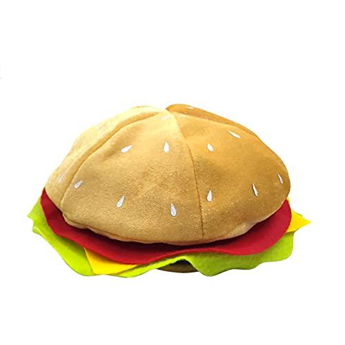 JISKGH Divertido Sombrero de Hamburguesa, Divertido Sombrero de Hamburguesa de Comida RáPida, Decoraciones de Suministros para Fiestas de Pizza, Sombrero Loco y Tonto para Halloween