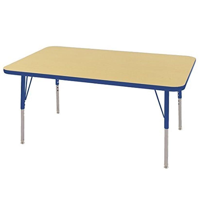 重量ピクニック作りますECR4Kids Mesa T-Mold 30 x 48 Rectangular School Activity Table Toddler Legs w/Swivel Glides Adjustable Height 15-23 inch (Maple/Blue) [並行輸入品]