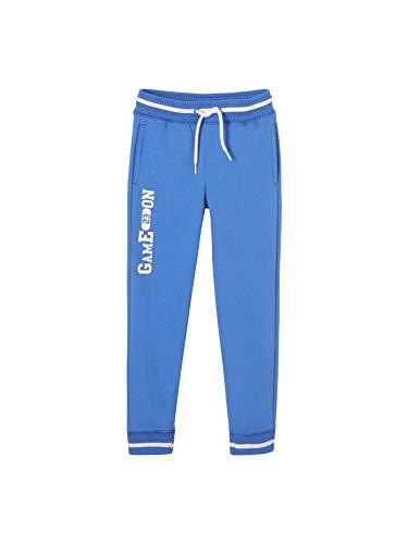 VERTBAUDET Pantalón de Deporte niño de Felpa Azul Fuerte Liso con Motivos 8A