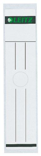 Leitz Rückenschild selbstklebend für Hängeordner, 10 Stück, Langes und breites Format, 61 x 279 mm, Papier, grau, 60930085