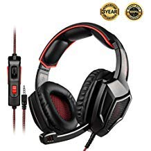 SADES SA920PLUS Stereo Gaming Headset for PS4, PC, Xbox One Controller, Noise Cancelling Over Ear Headphones with Mic, Bass Surround, Soft Memory Earmuffs for Laptop Mac Nintendo Switch(Black Red)