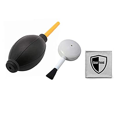 GearFend Dust Cleaner Kit Strong Cleaning Air Blower + Soft Brush Blower for Camera & Camcorder, Lens, LCD Screens, etc + Microfiber Cloth