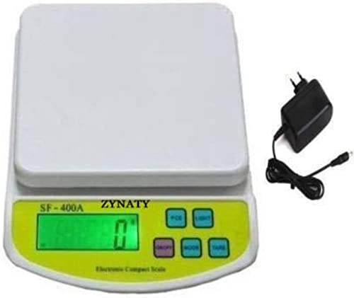 ZYNATY Electronic Digital Weighing Scale for kitchen 10K color white ADAPTOR INCLUDED