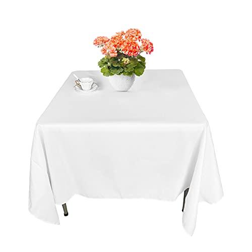"""WedDecor Cuadrado Mantel Cubierta Poliester Algodón para Banquete, Fiesta, Boda, Comedor, Cumpleaños, Decoración Hogar, Negro - Blanco, 70"""" x 70""""- 1"""