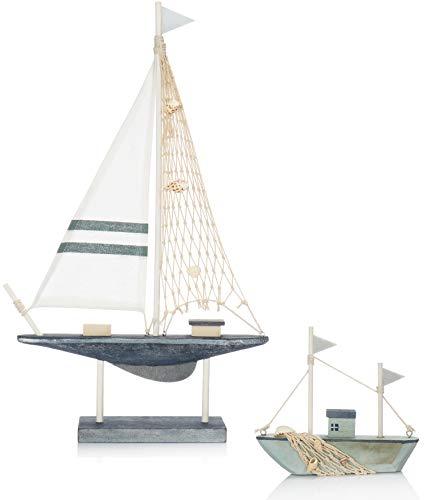 com-four® 2X velero Decorativo marítimo de Madera en Diferentes tamaños - Barco Decorativo de Madera con un Toque mediterráneo [la selección de Colores varía! (02 Piezas - Deco Ship Mix)