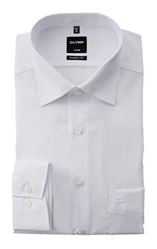 OLYMP Hemd Luxor, Weiß, Modern Fit, Extra Langer Arm 69cm, Bügelfrei, Knitterfrei, 100% Baumwolle, New Kent Kragen (46)