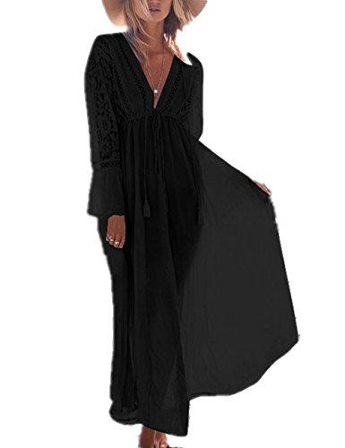 L-Peach Damen Sommer Baumwolle Blumenspitze Langes Kleid Pareo Strandkleid Bikini Coverups One Size